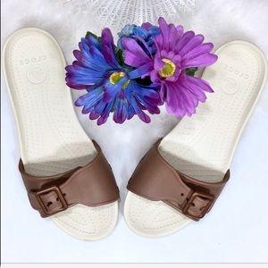 CROCS Shoes - Crocs Slip on sandals brown copper tone buckled 10